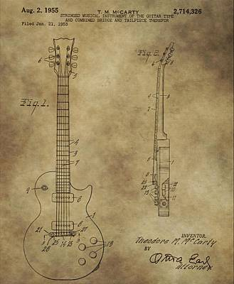 Loud Mixed Media - Electric Guitar Patent by Dan Sproul