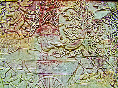 Angkor Digital Art - Elephant Bas-relief In The Bayon Or Temple In Angkor Thom-cambodia by Ruth Hager