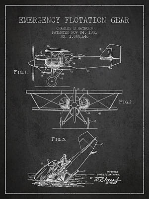 Float Plane Drawing - Emergency Flotation Gear Patent Drawing From 1931 by Aged Pixel