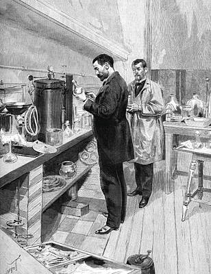 Emile Roux Preparing Croup Vaccine Print by Collection Abecasis