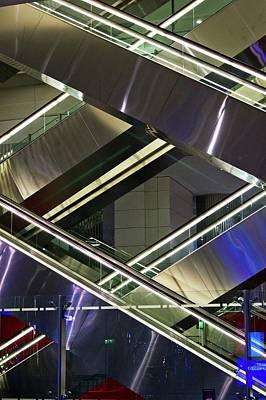 Escalators At Dubai Airport Print by Mark Williamson