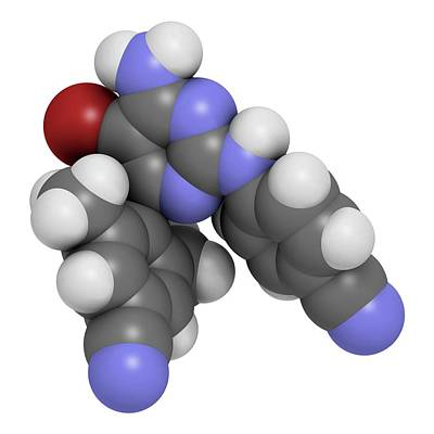 Etravirine Hiv Drug Molecule Print by Molekuul