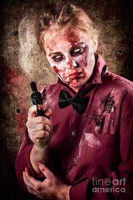 Evil Demented Zombie Holding Hand Gun. Robbery Print by Jorgo Photography - Wall Art Gallery