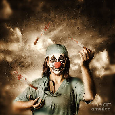 Evil Surgeon Clown Juggling Bloody Knives Outside Print by Jorgo Photography - Wall Art Gallery