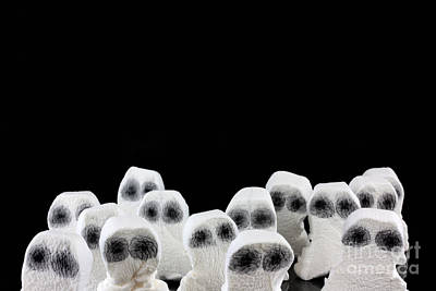 Evil White Ghosts In A Crowd With Black Space Print by Simon Bratt Photography LRPS