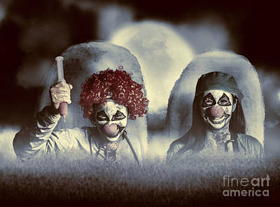Grave Photograph - Evil Zombie Clown Doctors Rising From The Dead by Jorgo Photography - Wall Art Gallery