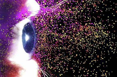 Space Photograph - Eye And Colourful Particles by Alfred Pasieka
