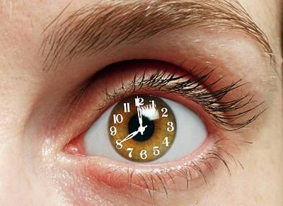 Eye With Clock Print by Victor De Schwanberg
