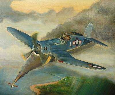 U.s. Navy Painting - F4u Corsair by Stuart Swartz