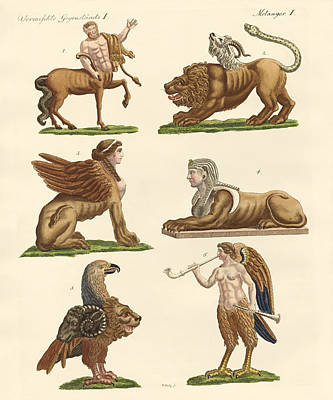 Centaur Drawing - Fabulous Animals by Splendid Art Prints