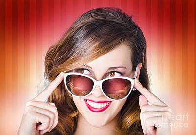 Red Lipstick Photograph - Face Of A Retro Pinup Girl In Trendy Sunglasses by Jorgo Photography - Wall Art Gallery