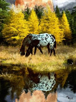 Bison Digital Art - Fall Reflections by Roger D Hale