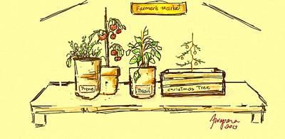 Tomato Drawing - Farmer's Market Botanical Section by Patricia Awapara
