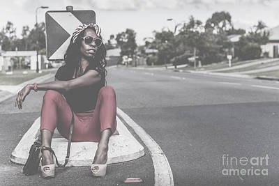 Edgy Photograph - Fashion Hitchhiker Girl Flagging Down A Ride by Jorgo Photography - Wall Art Gallery
