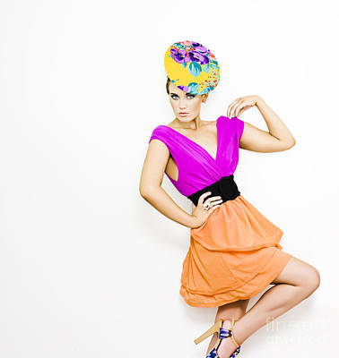 Fashion Model In Bright Colored Blouse Print by Jorgo Photography - Wall Art Gallery