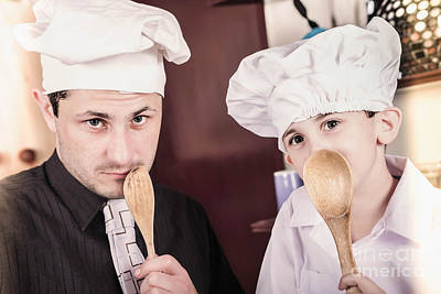 Father And Son Cooks With Family Secret Recipe Print by Jorgo Photography - Wall Art Gallery