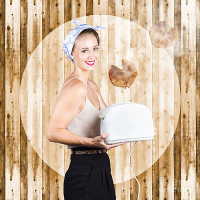 Toaster Photograph - Female Breakfast Waiter With Hot Toast In Toaster by Jorgo Photography - Wall Art Gallery