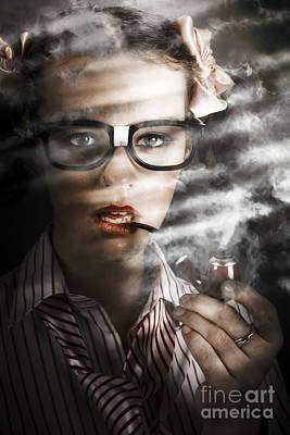 Business Cartoon Photograph - Female Business Spy With Smoke Near Window Blinds by Jorgo Photography - Wall Art Gallery