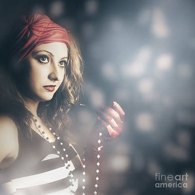 Female Fashion Model Holding Jewelry Necklace Print by Jorgo Photography - Wall Art Gallery