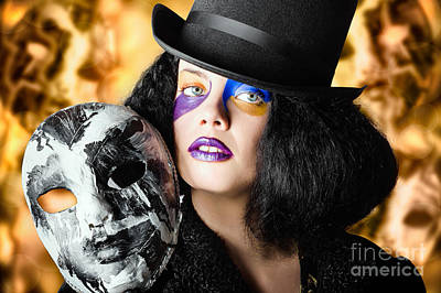 Female Jester Holding Carnival Mask. Halloween Fete  Print by Jorgo Photography - Wall Art Gallery