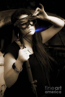 Female Mechanic Using Industrial Welder Print by Jorgo Photography - Wall Art Gallery