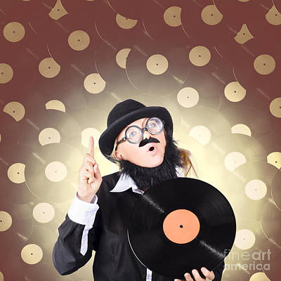 Aria Photograph - Female Model On Music High Holding Lp Vinyl Record by Jorgo Photography - Wall Art Gallery