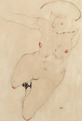 Anatomy Painting - Female Nude by Egon Schiele