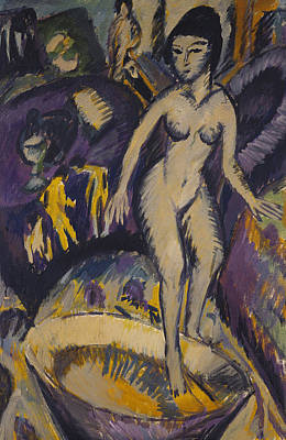 Full-length Portrait Painting - Female Nude With Hot Tub by Ernst Ludwig Kirchner
