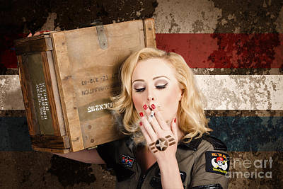 Female Pin-up Solider Smoking Cigarette Ration Print by Jorgo Photography - Wall Art Gallery