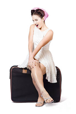 50s Photograph - Female Pinup Travelling Tourist Sitting On Luggage by Jorgo Photography - Wall Art Gallery