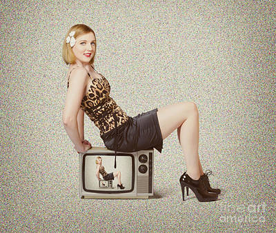 Female Television Show Actress On Old Tv Set Print by Jorgo Photography - Wall Art Gallery