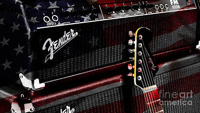 Fender Guitar And Amp Print by Marvin Blaine
