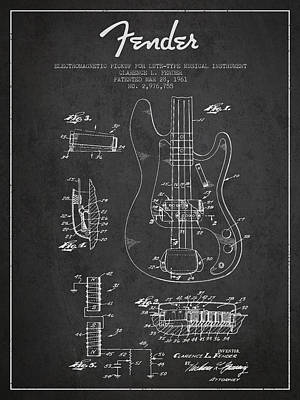 Bass Digital Art - Fender Guitar Patent Drawing From 1961 by Aged Pixel