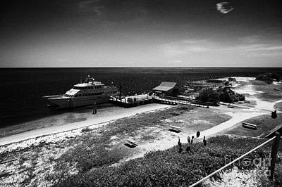 Ferry And Dock At Fort Jefferson Dry Tortugas National Park Florida Keys Usa Print by Joe Fox