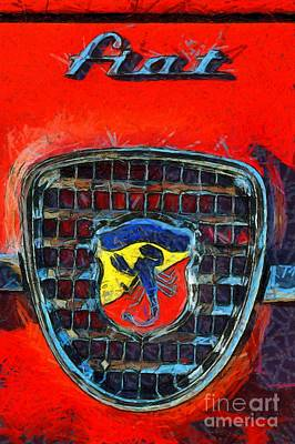 Show Painting - 1961 Fiat Abarth 750gt Allemano Spider by George Atsametakis