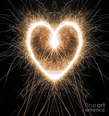 Fiery Heart Print by Tim Gainey