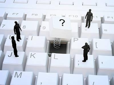 Question Photograph - Figures On Computer Keyboard by Andrzej Wojcicki