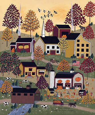 Picking Pumpkins Painting - Finding The Perfect Pumpkin by Medana Gabbard