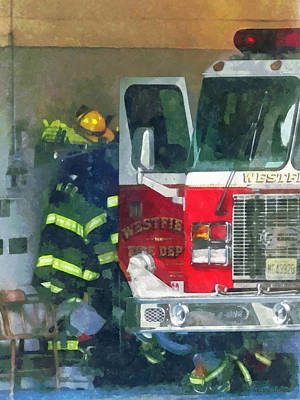 Firemen - Inside The Fire Station Print by Susan Savad