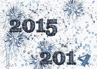 Fire Works Digital Art - Fireworks And Stars Happy New Year 2015 by Marianne Campolongo