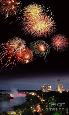 Fireworks Display Over Niagara Falls Print by Tony Craddock