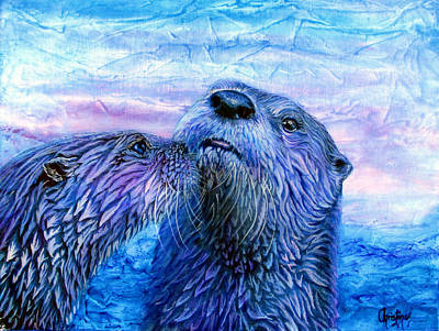 Otter Mixed Media - First Kiss  by Christine Cholowsky