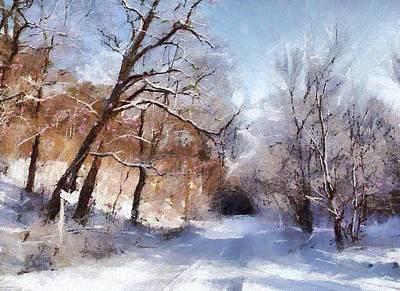 Blue Digital Art - First Snowy Day by Gun Legler
