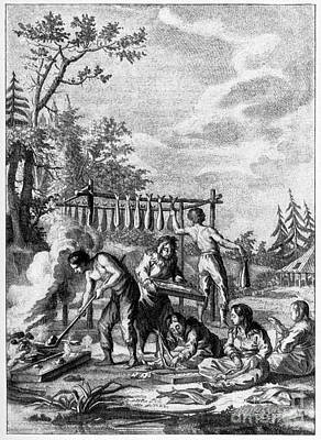 Fish Smoking In Kamchatka, 18th Century Print by CCI Archives