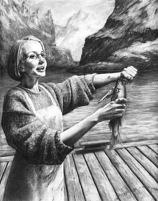 Fish Woman Print by Mark Zelmer