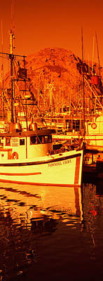 Fishing Boats In The Bay, Morro Bay Print by Panoramic Images