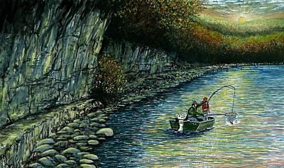 Net Painting - Fishing Buddies by Steven Schultz
