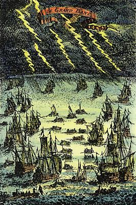 Thunderbolt Painting - Fishing Fleet, 1683 by Granger