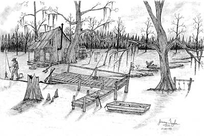 Catfish Drawing - Fishing On The Bayou by Jimmy Taylor