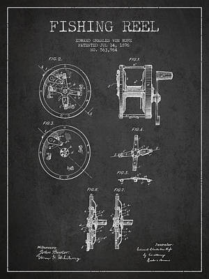 Catch Digital Art - Fishing Reel Patent From 1896 by Aged Pixel